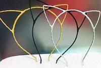 Обруч Ушки кошки черные, золотые, серебрисьые( тканевые)