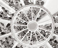 Набор страз разной формы в каруселе серебро