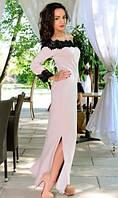 Кремовое платье с черным кружевом