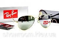 Женские солнцезащитные очки в стиле RAY BAN aviator (золотая оправа), фото 1