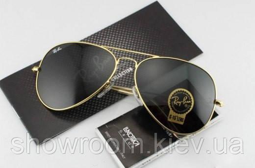 Женские солнцезащитные очки в стиле RAY BAN aviator (золотая оправа)
