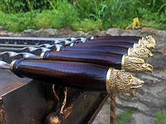 """Шампур с деревянной ручкой и бронзовыми навершиями """"Звери"""" (3мм, 70см, 1шт), фото 3"""