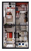 Двухкомнатная квартира до 80 м2