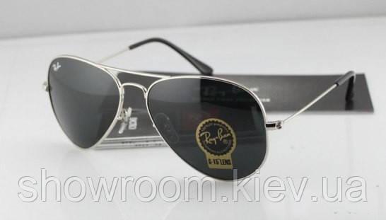 Мужские солнцезащитные очки в стиле RAY BAN aviator (серебрянная  оправа)