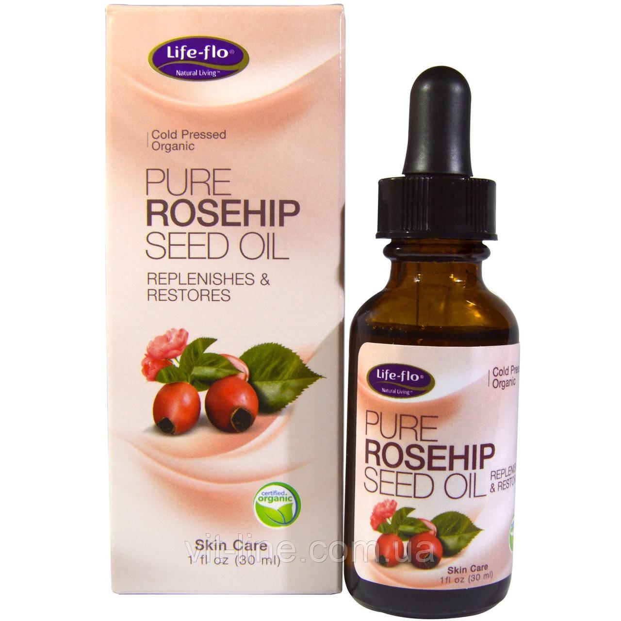 Life Flo Health, Чисте масло насіння шипшини, догляд за шкірою, (30 мл)