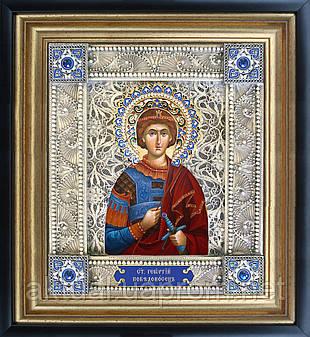 Святой Георгий Победоносец скань икона