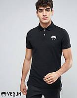 Черная модная футболка поло venum