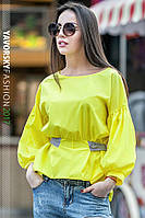 "Желтая  блуза ""РАМИНА"" с поясом"