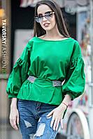 """Стильная блуза """"РАМИНА"""" с пояском цвет зеленый"""