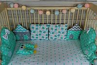 Бортики,захист в ліжечко+постільна білизна та ортопедична подушка