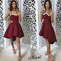 Яркое коктейльное платье цвета марсала