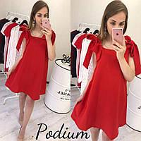 Красное платье с бантами