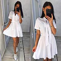 Стильное летнее женское платье в белом цвете