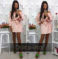 Воздушное персиковое платье
