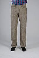 Серо-зеленые мужские брюки из льна