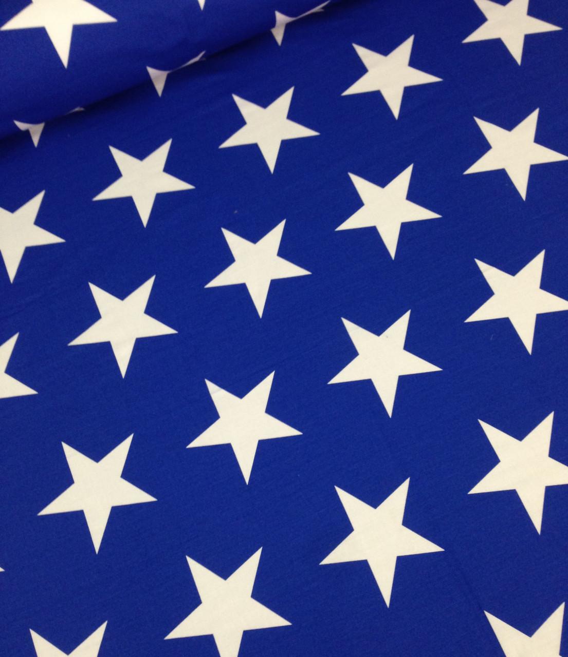 Хлопковая ткань белые звезды на синем крупные 12 см