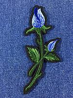 Нашивка Роза ветка с бутоном цвет голубой m