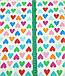 Хлопковая ткань польская сердца розовые, голубые, оранжевые, зеленые на белом №637, фото 2