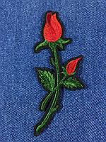 Нашивка Роза ветка с бутоном цвет красный m