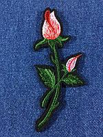 Нашивка Роза ветка с бутоном цвет розовый m