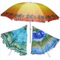 Пляжный зонт с наклоном 180см, солнцезащитный зонт с напылением, фото 1
