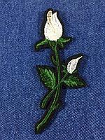Нашивка Роза ветка с бутоном цвет белый m
