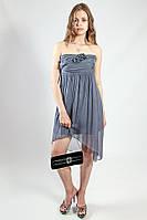 Платье женское вечернее коктельное серое натурального шелка рS King Kong