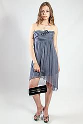 Платье женское вечернее коктельное серое натуральный шелк р.S King Kong