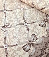 Хлопковая ткань польская орнамен с лентами и бантами бежевый (купонная)