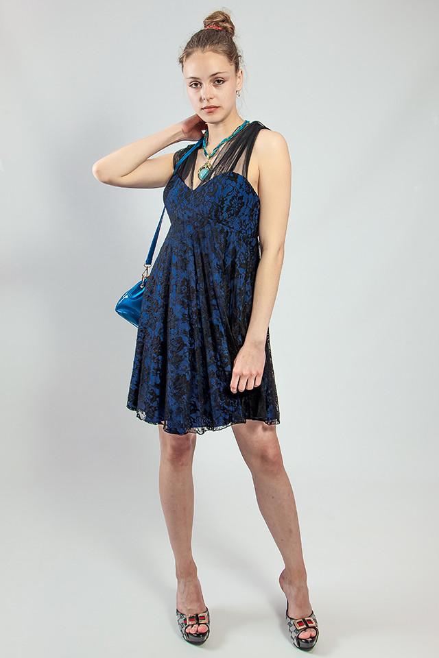 Плаття жіноче чорне гіпюрову вечірній коктельное велике Lussilo