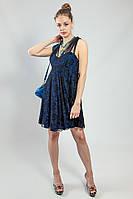 Платье женское черное гипюровое вечернее коктельное большое Lussilo