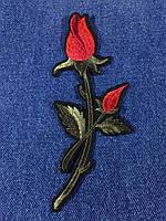 Нашивка Роза ветка с бутоном цвет красный B