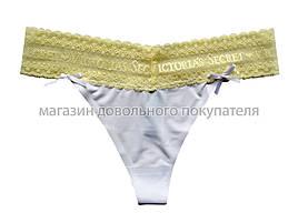 Женские бесшовные стринги с гипюровым поясом Victoria's Secret (VS) (реплика) белые