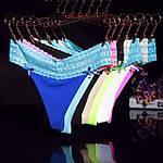Бесшовные стринги Victoria's Secret Виктория Сикрет с гипюровым поясом
