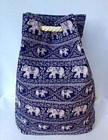 Пляжная текстильная летняя сумка рюкзак для пляжа и прогулок Индия цвет синий