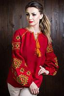 Стильная вышиванка красного цвета из льна с оригинальным узором