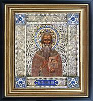 Святой Василий именная икона скань