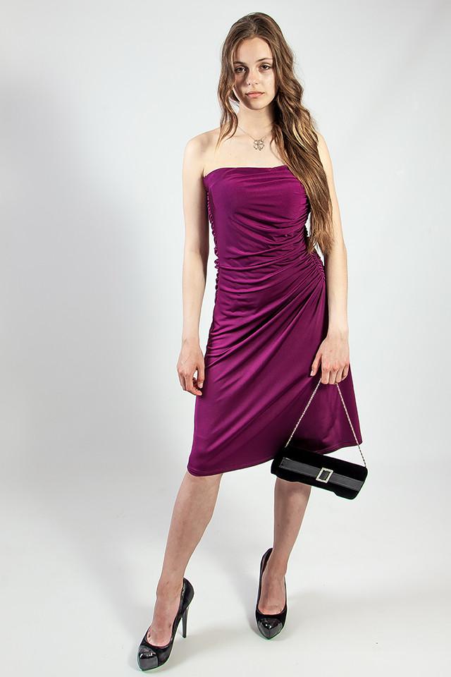 Платье женское вечернее коктельное выпускное сиреневое фиолетовое без бретелей рS L Lussilo