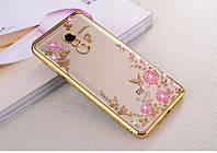 Чехол Бампер Luxury для Xiaomi Redmi Note 4 ультратонкий Gold