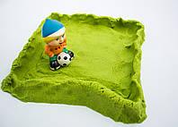 Кинетический песок для детей Зеленый для творчества 1кг + Формочки  Supergum kinetic sand