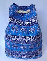 Пляжная текстильная летняя сумка, рюкзак пляжа для пляжа и прогулок Индия цвет голубой
