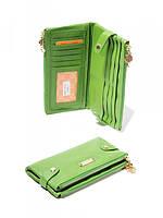 Женский кожаный кошелек на кнопках зеленый А 889-919