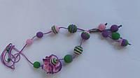 Слингобусы - бусы для кормления Розовый цветок с подвеской