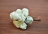 Букет роз из фоамирана, 1,5 см, 12 шт, мятные