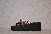 Шлепки женские на средней танкетке черного цвета текстиль украшены камнями