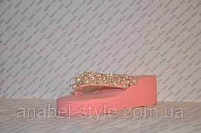 Шлепанцы розовые женские на средней танкетке украшены жемчугом, фото 2