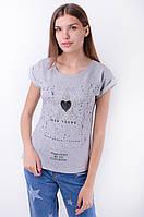 Стильная женская футболка с принтом, с микробисером и стразами