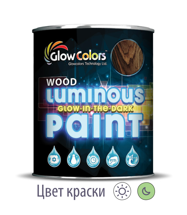 Краска для дерева светящаяся GlowColors Wood Classic Green
