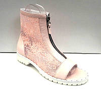 Сапоги-ботинки женские летние верх кожа сетка бежевые W0020