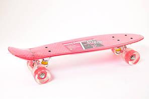 Скейт Пенни Борд (0855) Прозрачно Красный, свет в колесах
